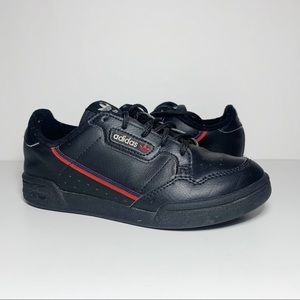 Black Leather Blue Red Stripe Low-Top Sneakers